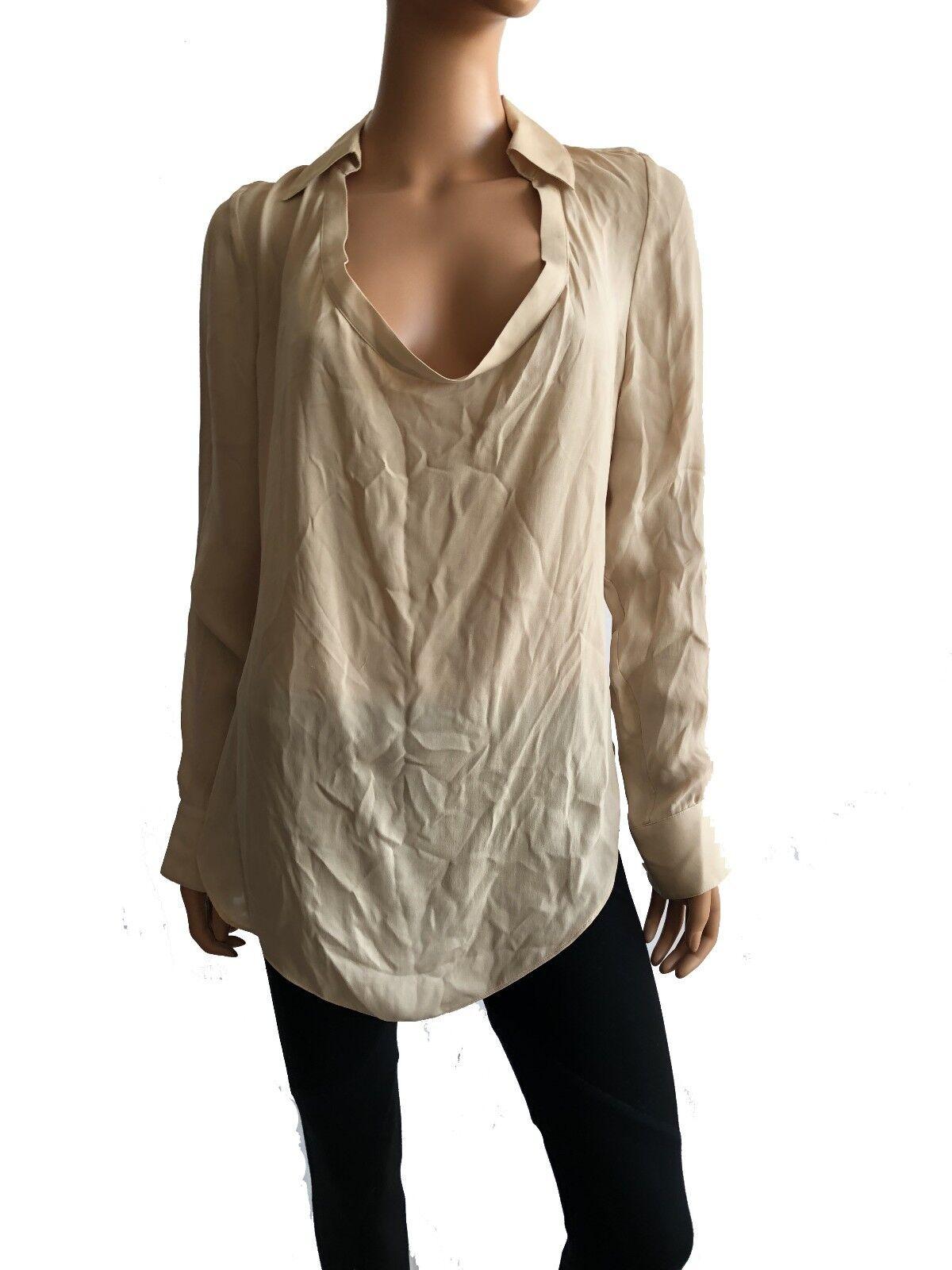 Haute Hippie  Long Sleeve Cowl Neck Beige Silk Blouse  Größe S