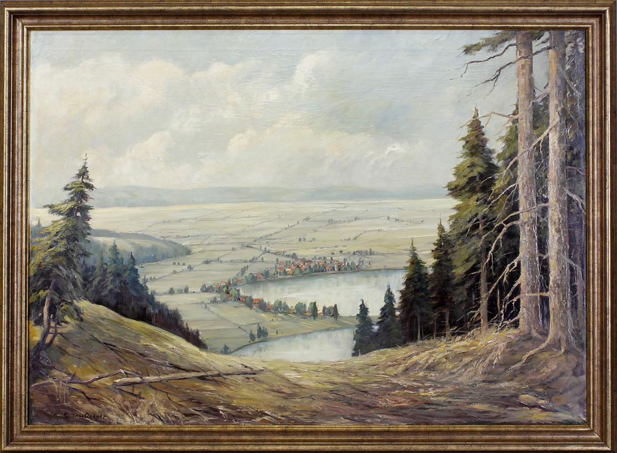 Peinture huile signée C. kauflehner regard dans la vallée Paysage Paysage Paysage 99860159 | Soyez Bienvenus En Cours D'utilisation  d96827