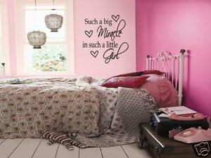 Details about BIG MIRACLE LITTLE GIRL Bedroom Wall Decal Quote 36\