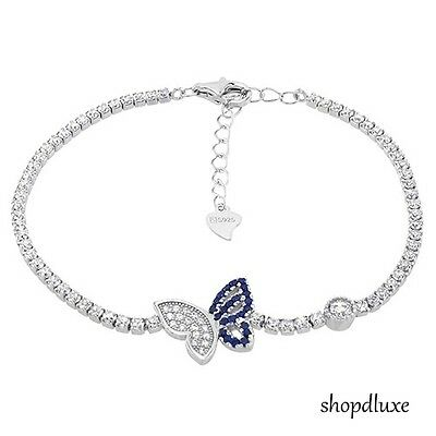 WOMEN'S ROUND CUT BLUE & CLEAR CZ .925 STERLING SILVER BUTTERFLY TENNIS BRACELET