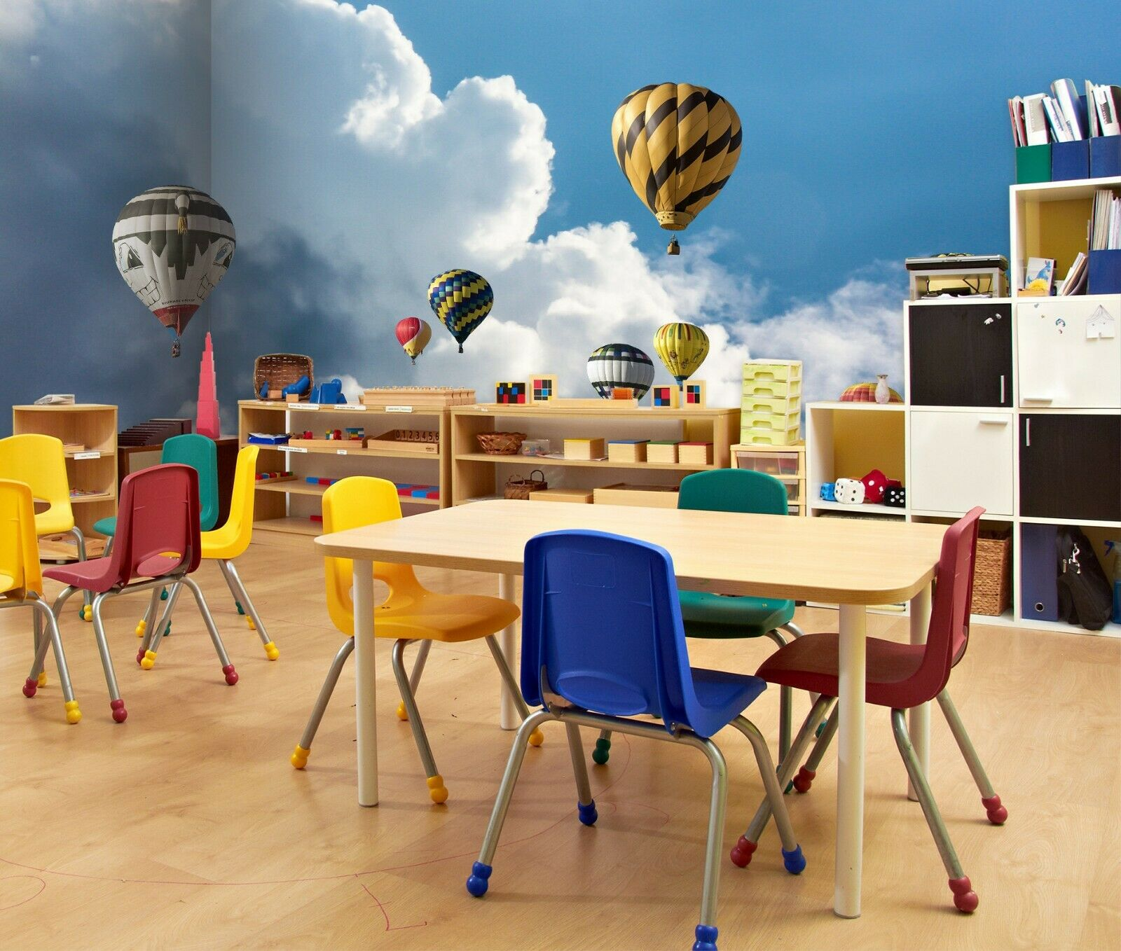 3D Hot Air Balloon N170 Business Wallpaper Wall Mural Self-adhesive Commerce Amy