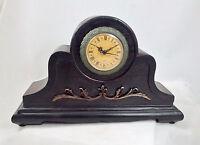 Vintage-style Mantel Clock Wood Battery Op Quartz Americana Design