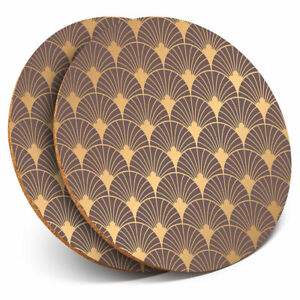 2-x-Coasters-Gold-Art-Deco-Pattern-Vintage-Retro-Home-Gift-12761