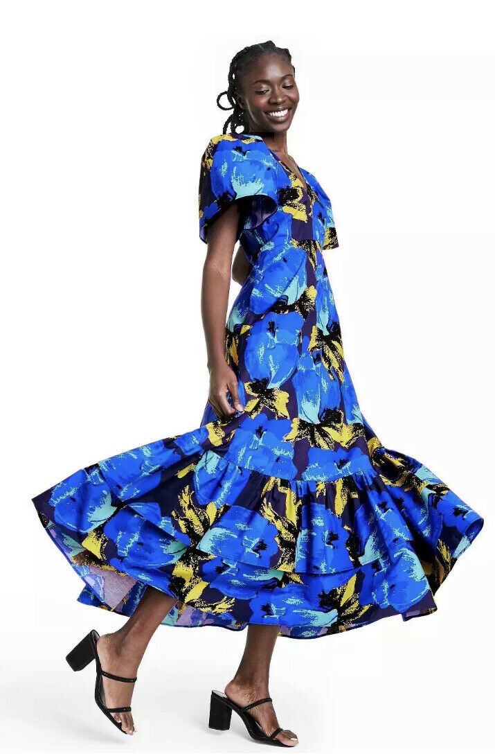 christopher john roger blue floral ruffle tiered … - image 1
