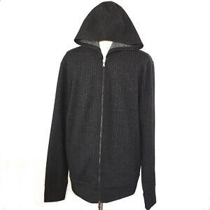 Men-039-s-John-Varvatos-USA-Luxe-Black-With-White-Stripes-Dual-Zipper-Hoodie-Large