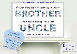 Word Art For Uncle Personalised Gifts Thank You Keepsake Him Print Card Birthday