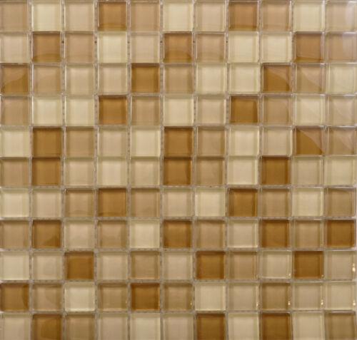 Reflections Cream Beige 2.5x2.5 Tile Glossy Glass Mosaic 30x30 cm Full Sheet