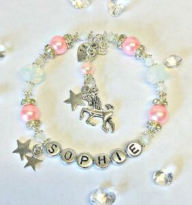Image Is Loading Personalised Name Jewellery Unicorn Charm Bracelet Santa Christmas