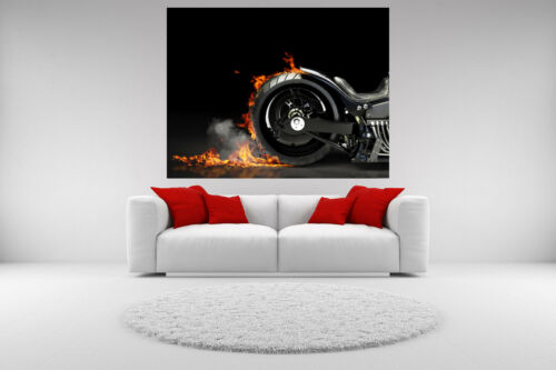 Motorcycle Canvas Burnout Giclee Print Picture Unframed Home Decor Wall Art