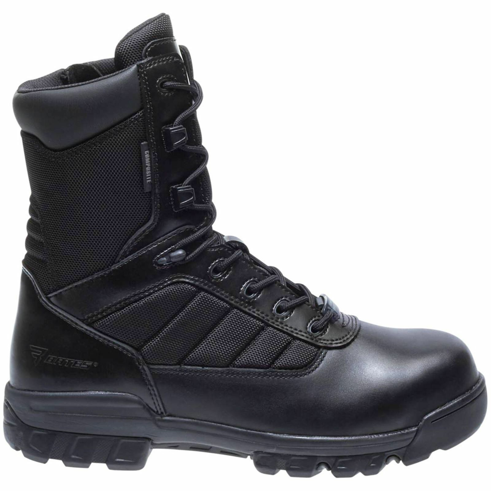 Bates Tactical Sport 8 Inch Safety Toe Black Mens Leather Combat Zip-up Boots