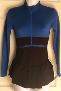 GK-POLARTEC-FIGURE-SKATE-ADULT-SMALL-LgS-BLUE-BLACK-TURTLENECK-ZIP-DRESS-AS-NWT