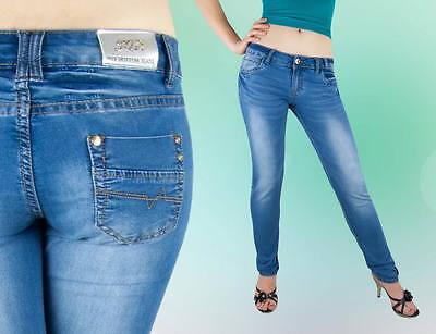 Attento Jeans Da Donna Tubo Pantaloni Jeans A Sigaretta Bassa Hüftig Blu 36 38 40 42-mostra Il Titolo Originale Alta Qualità E Basso Sovraccarico