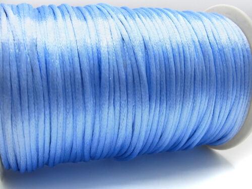 Ø 2 mm macramé-Band bleu clair; sb16 10 km tenait Ruban satin