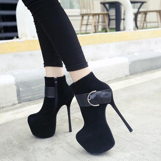 la migliore moda Stivali stivaletti bassi bassi bassi  stiletto 15.5 cm  nero eleganti simil pelle 9503  a buon mercato