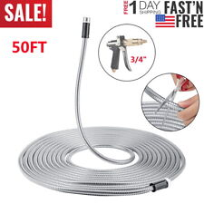 15m Non-Kink Stainless Steel Flexible Hose Garden Watering Washing Tube Durable