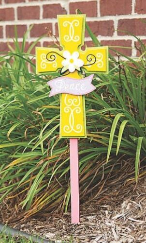 Religious Peace Cross Yard Sign Stake Garden Statue Outdoor Easter Spring Decor