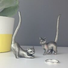 CAT Ring Stand - Dark Silver Pewter Ring holder / Tree / Dish