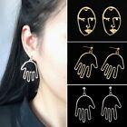 Fashion Dangle Hand Beauty Head Face Lines Ear Stud Earrings Women Lady Jewelry