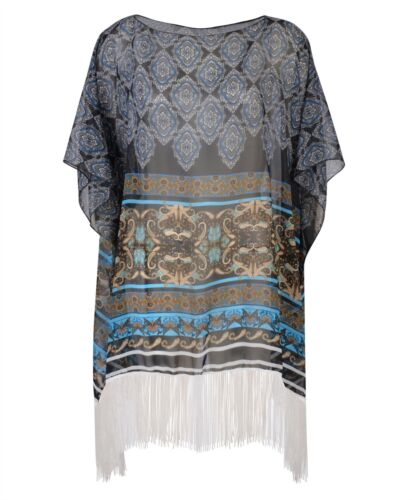 Women Beach Cover Up Summer Kaftan Boho Print Fringes Ladies Sarong One Size