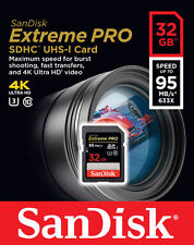 SanDisk 32GB 32Gb Extreme PRO SD SDXC Card 95MB/s Class 10 UHS-1 U3 4K Memory