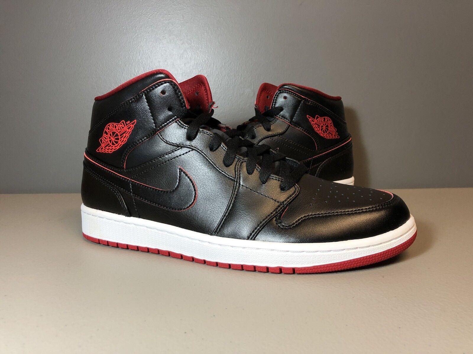 Nike Rojo Air Jordan 1 Mid Negro gimnasio Rojo Nike 554724 028 tamaño 10,5 444db0