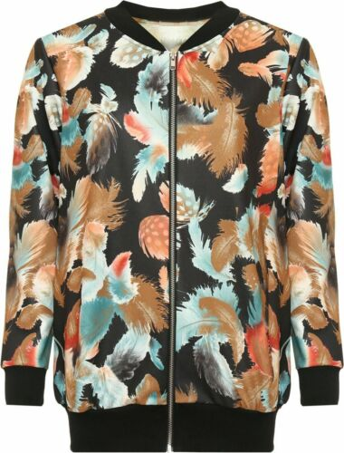 Damas de manga larga Cuello Redondo Cremallera Estampado floral elegante de verano de mujer chaqueta de bombardero