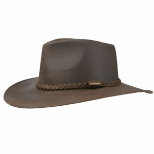 Cowboy Western Style Leather Hat Black Quality Leather Hat Buffalo Coin