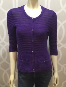 Trina-Turk-Women-039-s-Purple-Violet-Cardigan-Sweater-Sz-M-Knit-Cotton-1-2-Sleeve