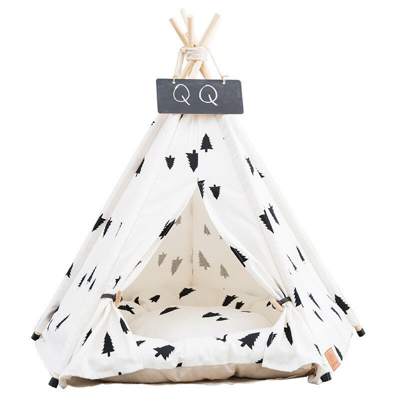 Pet Tipi Teepee Tent House Durable Foldable Dog Cat Bed Kennel House Kitten Tree
