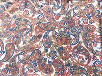 Vintage 1960's Terylene Cotton Dress Fabric In Retro Paisley Flower Design