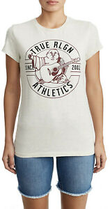 True-Religion-Women-039-s-Athletic-Buddha-Crew-Neck-Tee-T-Shirt-in-Heather-Oatmeal