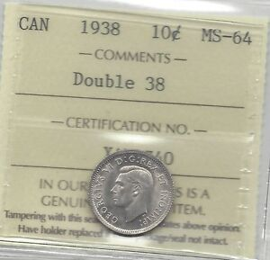 1938-ICCS-Graded-Canadian-Silver-10-Cent-MS-64-Re-Engraved-Date