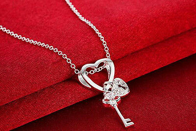 Women Love Heart Chain Necklace Crystal CZ Sterling Silver Pendant Fashion