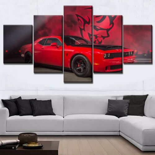 Red Muscle Dodge Challenger Car 5 Pieces Canvas Wall Art Poster Print Home Decor