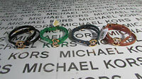 Michael Kors Leather Mk Crystal Double Wrap Bracelet