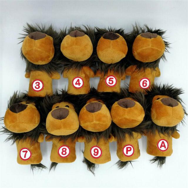 9PCs Plush Lion Iron Wood Headcovers Golf Club Animal Irons Head Covers #3-9PA
