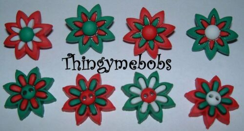 CHRISTMAS 8 RED//GREEN//WHITE HOLIDAY BLOOMS//FLOWERS NOVELTY CRAFT BUTTONS