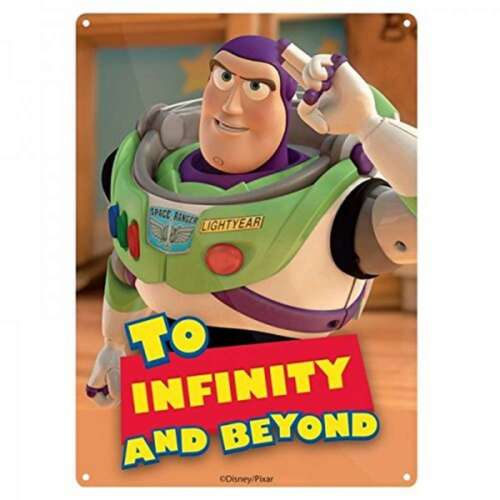 DISNEY TOY STORY TO INFINITY AND BEYOND BUZ SMALL A5 METAL WALL SIGN PLAQUE