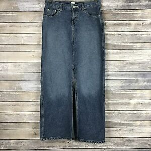 Calvin-Klein-Antique-Wash-Long-Denim-Blue-Jean-Skirt-Front-Split-Womens-Size-3
