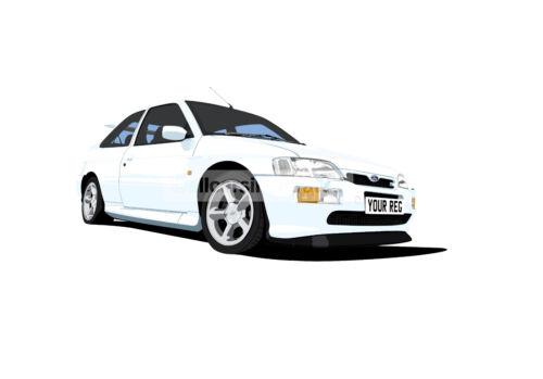 FORD ESCORT RS COSWORTH ART PRINT (SIZE A4). CHOOSE CAR COLOUR. ADD REG DETAILS