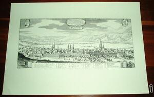 Klagenfurt-alte-Ansicht-Merian-Druck-Stich-1650-Panorama-Staedteansicht-Kaernten