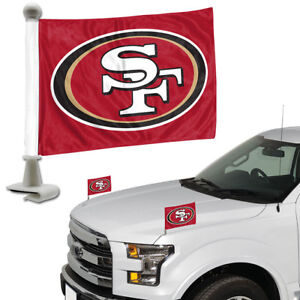 San-Francisco-49ers-Set-of-2-Ambassador-Style-Car-Flags-Trunk-Hood