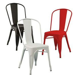 Dettagli su Set sedie design tolix sedia vintage stile Industriale in  metallo acciaio cucina