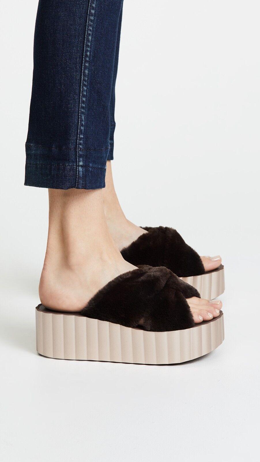 NIB Tory Burch Faux Fur Scallop Wedge Slide Sandal Burnt Chocolate 7, 8, 10  168