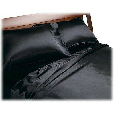 4Pcs Soft Silk~Y Satin Lingerie Bed Sheets Set QUEEN BLACK