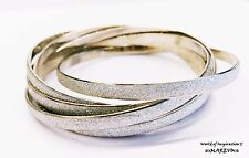 SPARKLING 6 PIECES SILVER GLITTER TWISTED BANGLE LUXURY PARTY TREND BRACELET