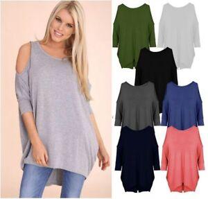 New-Ladies-Womens-Shoulder-Cut-Long-Sleeve-Baggy-Mini-Dress-Top-Plus-Size-8-26