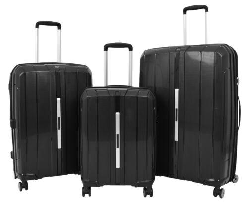 Hard Shell 4 Wheel Suitcases Black Expandable Luggage TSA Lock Zipped Travel Bag