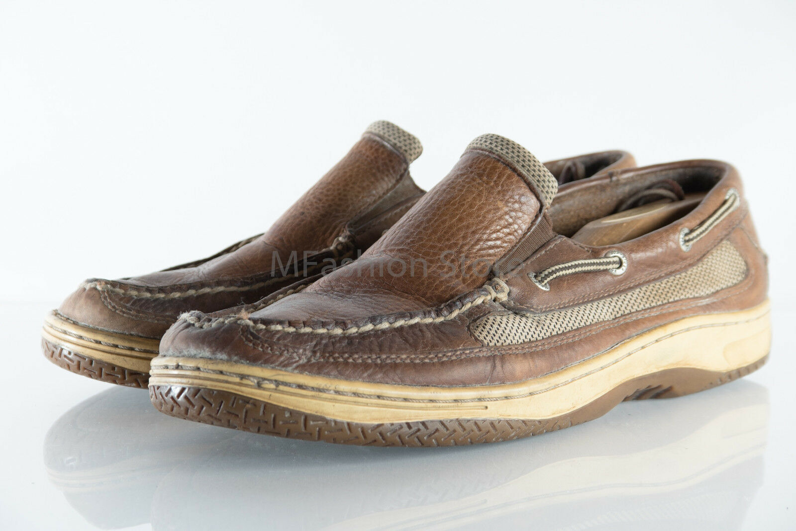 Sperry Brown Leather Upper Loafers CH133 Mens shoes Size US 11.5M Pre Owned