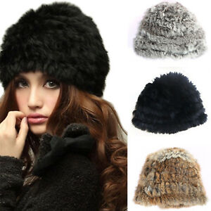 c0ed4b366ed New Womens Girls Russian Real Rabbit Fur Knitted Cap Nice Winter ...